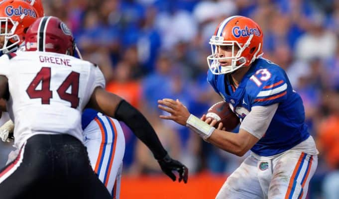 University of Florida quarterback Feleipe Franks rushes for a one yard touchdown to take a 35-31 lead over South Carolina- Florida Gators football- 1280x853