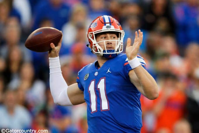 University of Florida quarterback Kyle Trask throws a pass in a 38-17 loss to the Missouri Tigers- Florida Gators football- 1280x854