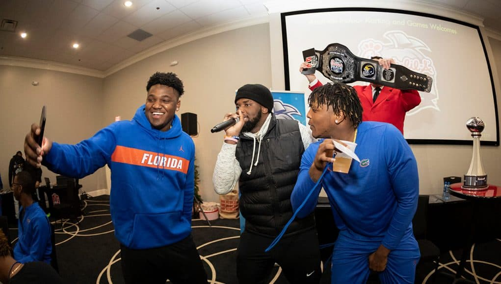 The Florida Gators visit Andretti Indoor Karting and Games on Monday, December 24, 2018 in Marietta, GA. Florida will face Michigan in the 2018 Chick-fil-A Peach Bowl on December 29, 2018. (Paul Abell via Abell Images for the Chick-fil-A Peach Bowl)
