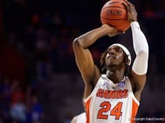 Deaundrae Ballard puts up a shot in the Charleston Southern game - Florida Gators basketball - 1280x853