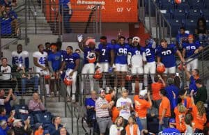 Florida Gators Football team watches the basketball game after practice- 1280x853