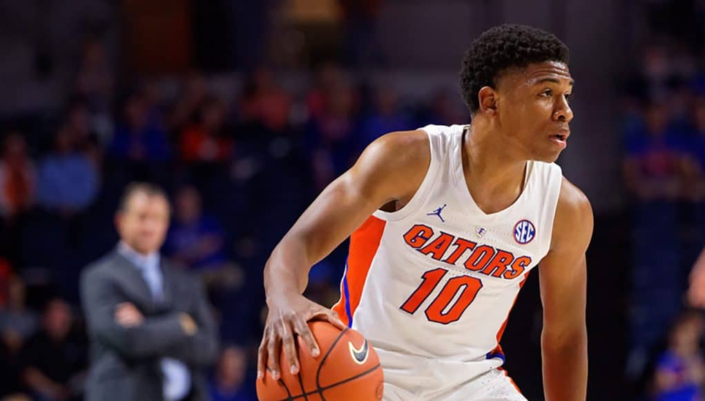 Noah Locke dribbles against Charleston Southern - Florida Gators basketball - 1280x853