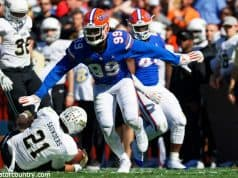 University of Florida defensive end Jachai Polite celebrates after a sack against the Vanderbilt Commodores- Florida Gators football- 1280x853