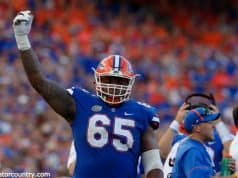 University of Florida offensive lineman Jawaan Taylor on the sideline during the Florida Gators loss at home to LSU in 2017- Florida Gators football- 1280x852