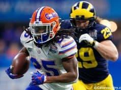 University of Florida running back Jordan Scarlett breaks free for a big run in the 2018 Peach Bowl against the Michigan Wolverines- Florida Gators football- 1280x853