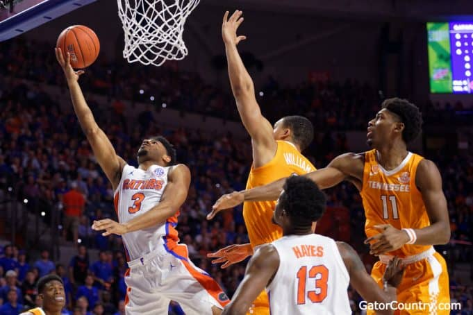 Florida Gators guard Jalen Hudson scores against Tennessee in 2019- 1280x853
