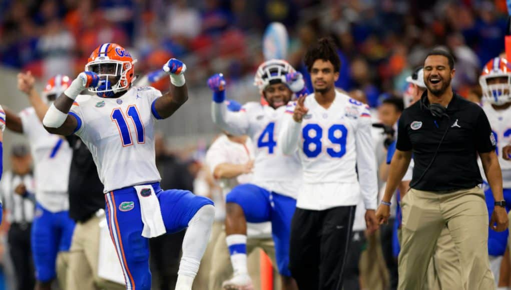 University of Florida linebacker Vosean Joseph celebrates during the Florida Gators Peach Bowl win over the Michigan Wolverines- Florida Gators football- 1280x1024