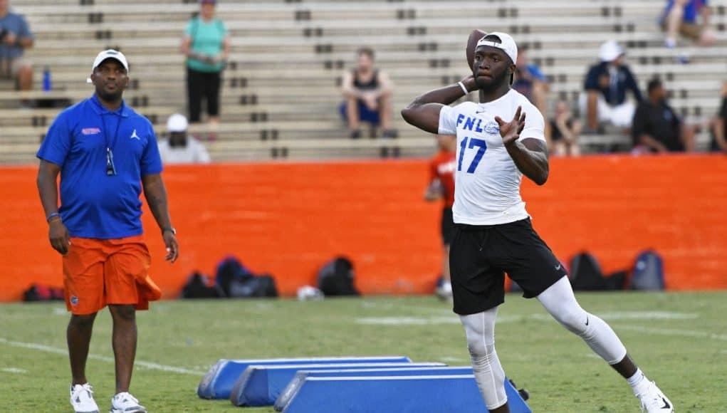 University of Florida quarterback Jalon Jones works out in front of quarterback coach Brian Johnson during Friday Night Lights- Florida Gators football- 1280x853