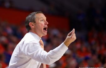 Florida Gators head coach Mike White during the second half as the Gators fall to the Michigan State Spartans - Florida Gators Basketball - 1280x853