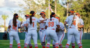 Florida Gators Softball warms up before home opener in 2019- 1280x853