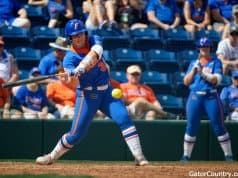 Florida Gators catcher Kendyl Lindaman hits against Illinois State- 1280x853