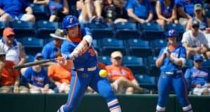 Florida Gators catcher Kendyl Lindaman hits against Illinois State- 1280x853