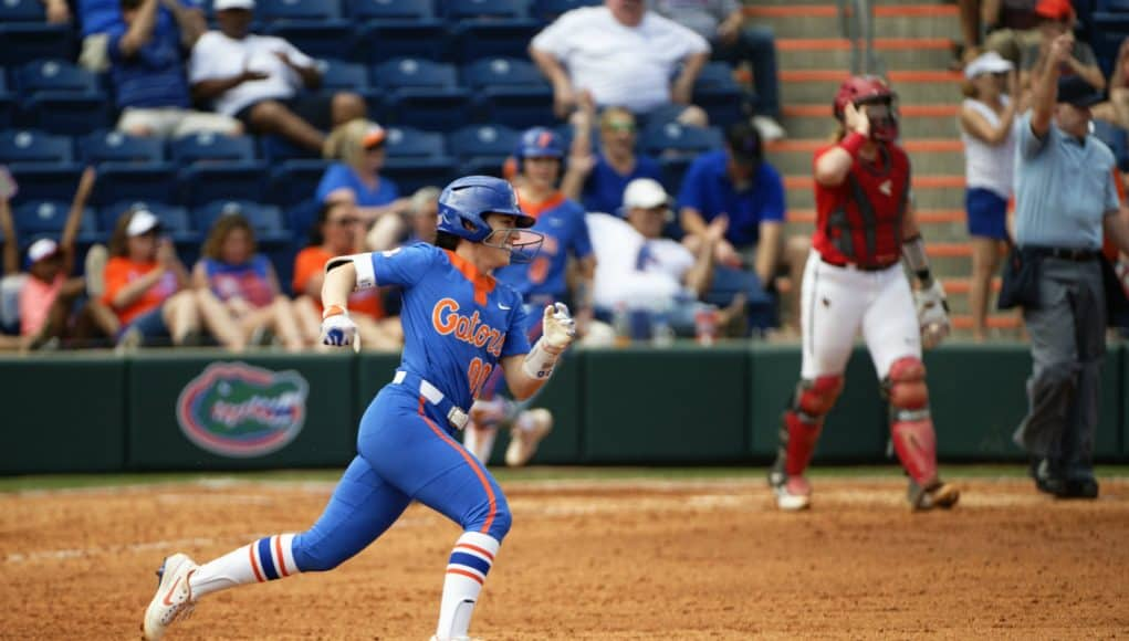 Florida Gators outfielder Alex Voss hits a home run against Illinois State- 1280x853