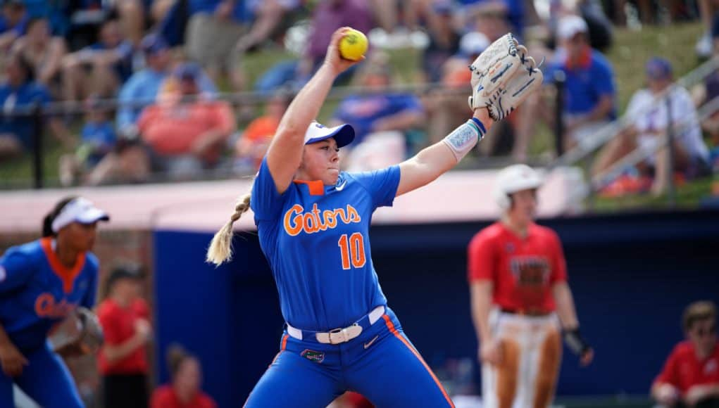 Florida Gators pitcher Natalie Lugo pitches in 2019- 1280x853