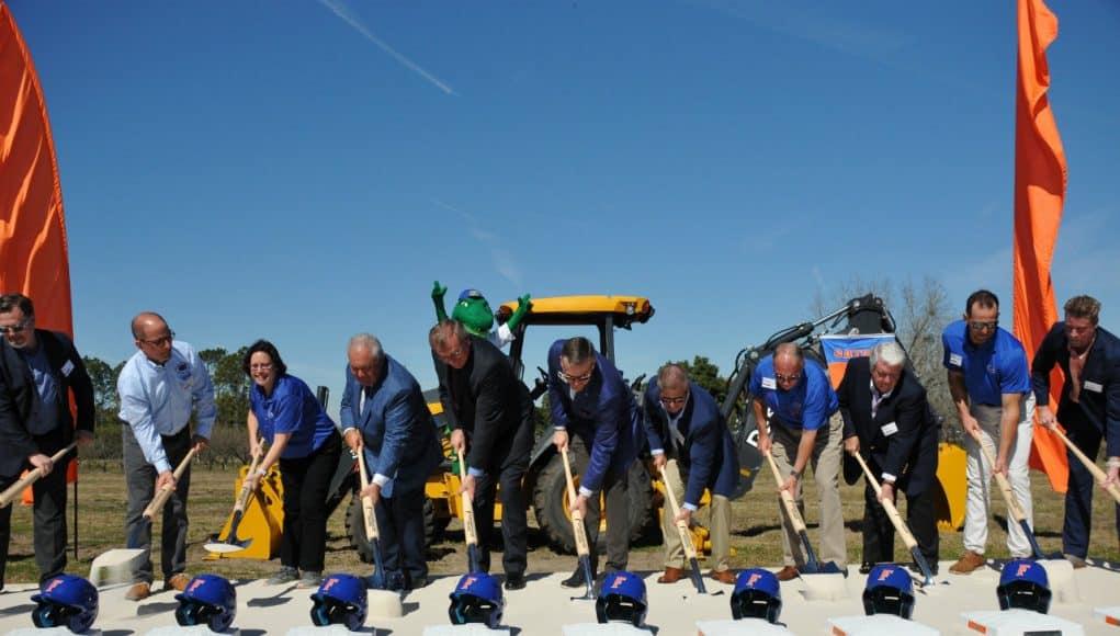 Members of the University of Florida athletic association and President Kent Fuchs break ground on the Florida Gators new baseball stadium- Florida Gators baseball- 1280x850