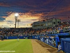 The sun sets over McKethan Stadium as the Florida Gators host the Long Beach State Dirtbags to start the 2019 season- Florida Gators baseball- 1280x853