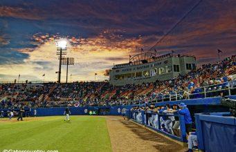 The sun sets over McKethan Stadium as the Florida Gators host the Long Beach State Dirtbags to start the 2019 season- Florida Gators baseball- 1280x853