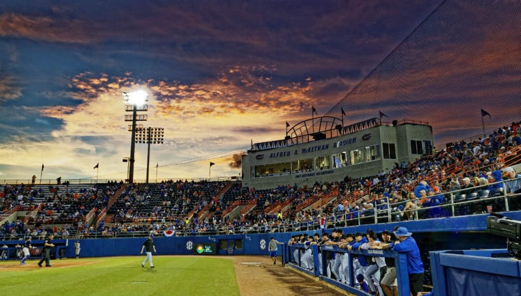 The sun sets over the stands at McKethan Stadium as the Florida Gators open the 2019 season against Long Beach State- Florida Gators baseball- 1280x853