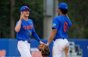 University of Florida freshmen Jud Fabian (left) and Kendrick Calilao (right) celebrate Florida's series clinching win over Miami- Florida Gators baseball-1280x853