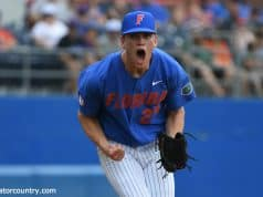 University of Florida pitcher Jack Leftwich reacts to an inning-ending strikeout against Miami- Florida Gators baseball- 1280x852
