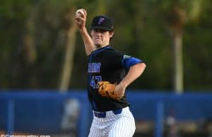 University of Florida pitcher Tommy Mace throws a scoreless second inning against Long Beach State- Florida Gators baseball- 1280x853