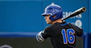 University of Florida right fielder Wil Dalton watches from the on deck circle during the Florida Gators opening night win over Long Beach State- Florida Gators baseball- 1280x853