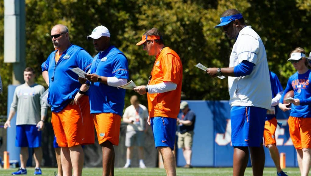 Florida Gators offensive coaching staff watches spring practice- 1280x853