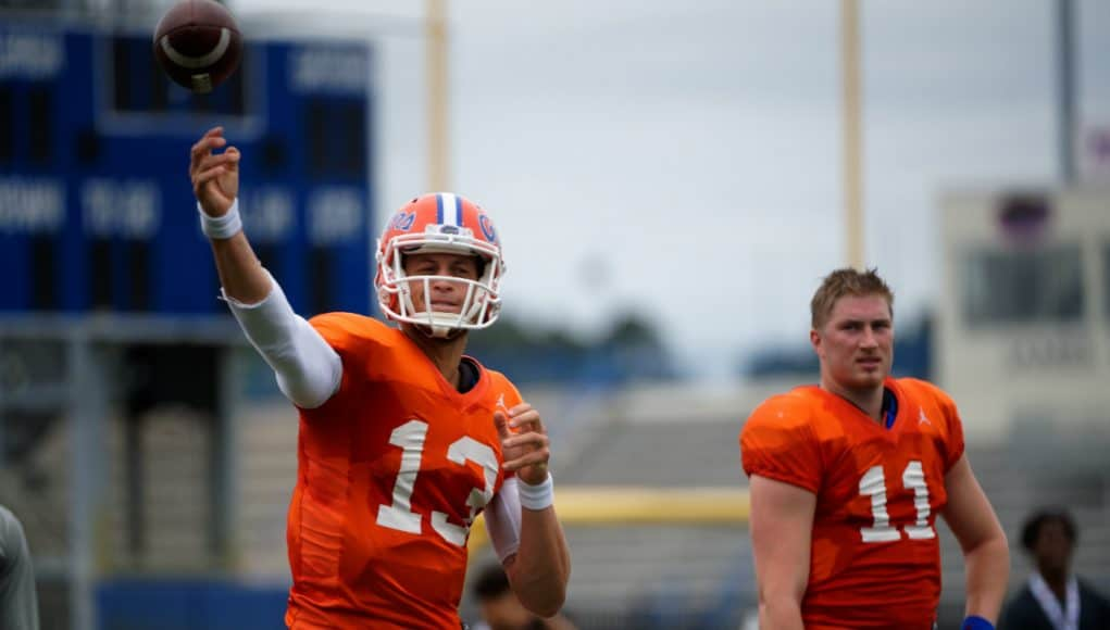 Florida Gators quarterback Feleipe Franks throws during spring practice 2019-1280x853