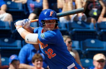 Florida Gators softball catcher Kendyl Lindaman hits in 2019- 1280x853