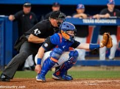 University of Florida catcher Brady Smith during game action against Long Beach State on opening weekend- Florida Gators baseball- 1280x853