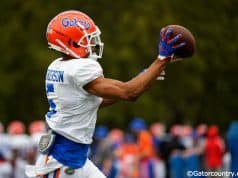 University of Florida defensive back C.J. Henderson going through drills during the Florida Gators first spring practice- Florida Gators football- 1280x853
