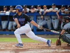 University of Florida designated hitter Nelson Maldonado singles against the Long Beach State Dirtbags- Florida Gators baseball- 1280x853