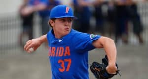 University of Florida freshman pitcher Nolan Crisp delivers to the plate in a home win over Miami- Florida Gators baseball- 1280x853