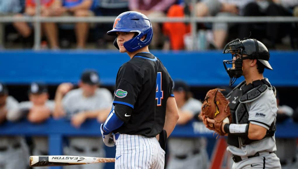 University of Florida outfielder Jud Fabian looks down to get a sign during the Florida Gators opening weekend win over Long Beach State- Florida Gators baseball- 1280x853