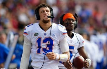 University of Florida quarterback Feleipe Franks on the sideline during the Florida Gators win over Florida State in 2018- Florida Gators football- 1280x853