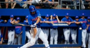 University of Florida shortstop Brady McConnell singles against the Miami Hurricanes- Florida Gators baseball- 1280x853