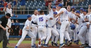 University of Florida first baseman Jordan Butler touches home after a three-run home run to walk off against South Carolina- Florida Gators baseball- 1280x846