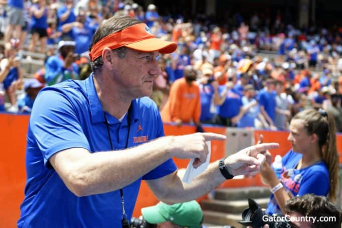 Florida Gators head coach Dan Mullen enters the Swamp for the spring game- 1280x853