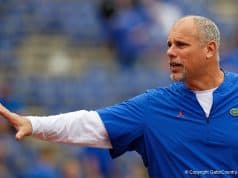Florida Gators offensive line coach John Hevesy before the 2018 South Carolina game - Florida Gators football -1280x853