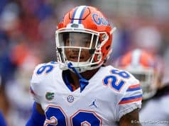 Florida Gators defensive back John Huggins during pregame against FSU - Florida Gators football - 1280x854