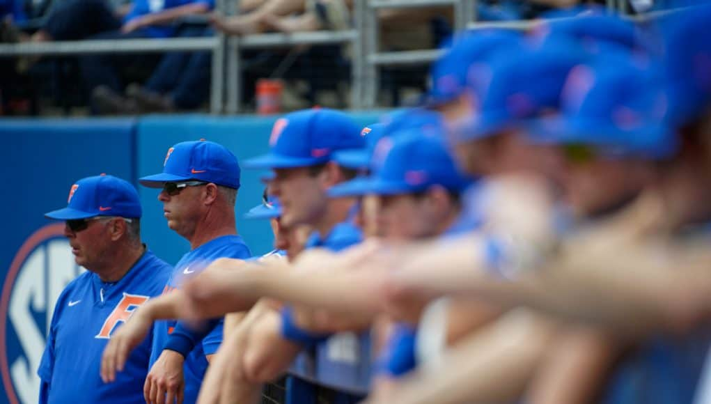 University of Florida coach Kevin O'Sullivan and the Gators watch on from the dugout as the Gators defeat the Miami Hurricanes- Florida Gators baseball- 1280x853