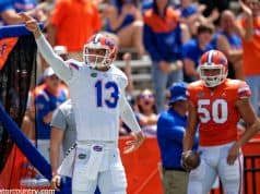 University of Florida quarterback Feleipe Franks celebrates a first down after catching a 46-yard pass from Kadarius Toney- Florida Gators football- 1280x852