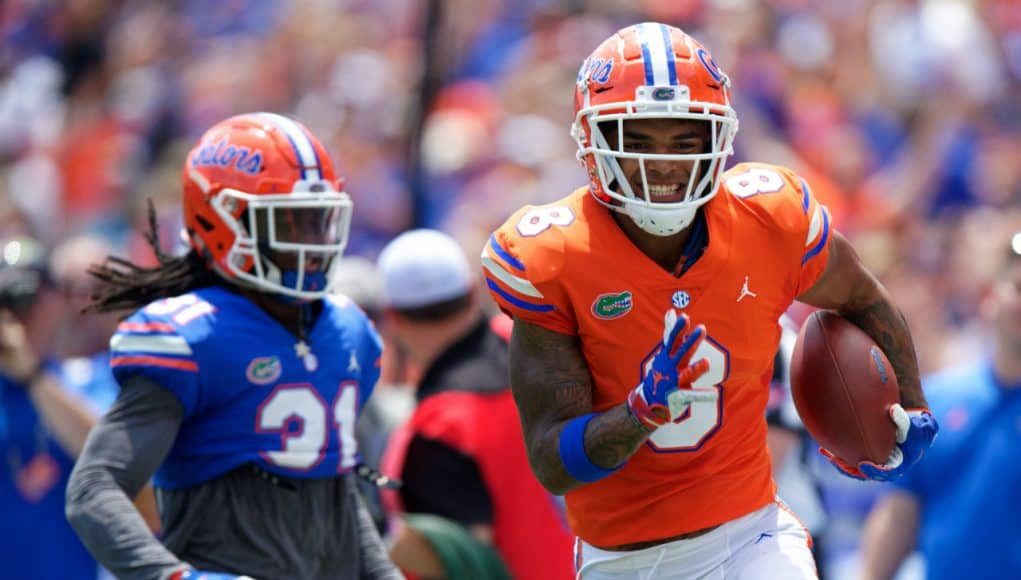 University of Florida receiver Trevon Grimes catches a 65-yard touchdown from Feleipe Franks in the 2019 spring game- Florida Gators football- 1280x852