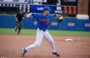 University of Florida third baseman Cory Acton throws to first in a win over the Miami Hurricanes- Florida Gators baseball- 1280x853