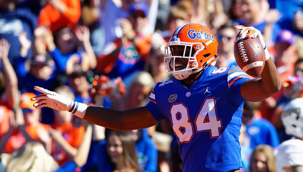 University of Florida receiver Kyle Pitts celebrates a touchdown catch against Idaho - Florida Gators football - 1280x853