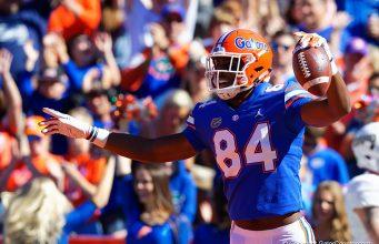 University of Florida receiver Kyle Pitts celebrates a touchdown catch against Idaho - Florida Gators football - 1280x853