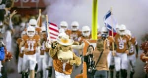 Nov 17, 2018; Austin, TX, USA; Texas Longhorns charge the field before the game against the Iowa State Cyclones at Darrell K Royal-Texas Memorial Stadium. Mandatory Credit: John Gutierrez-USA TODAY Sports