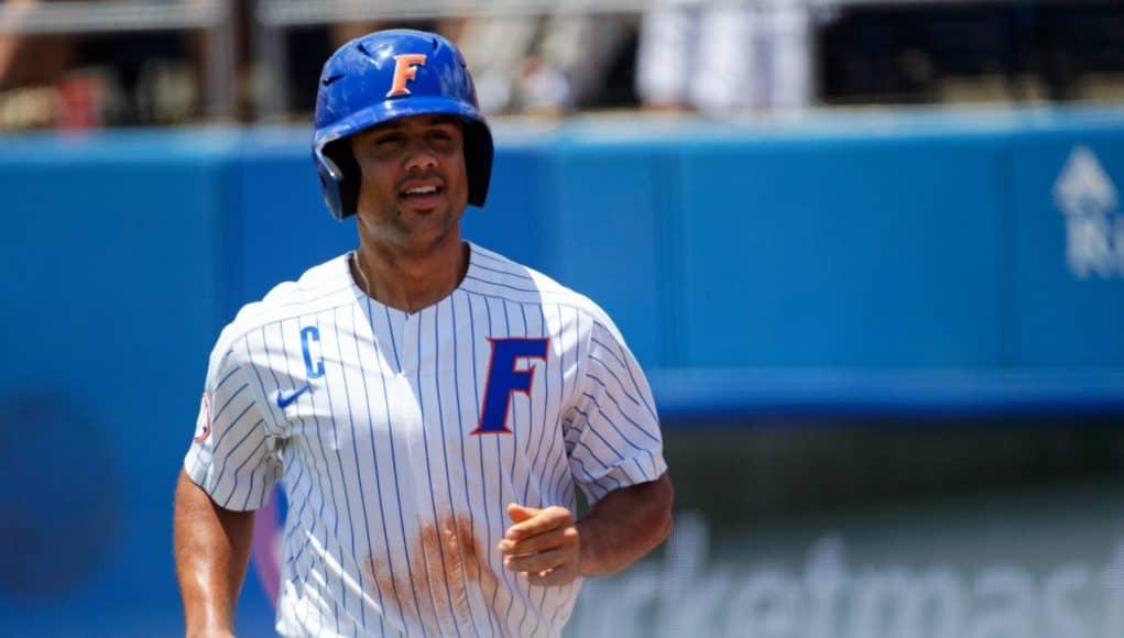 University of Florida designated hitter Nelson Maldonado smiles after hitting a home run- Florida Gators baseball- 1280x853