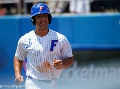 University of Florida designated hitter Nelson Maldonado smiles after hitting a home run- Florida Gators baseball- 1280x853