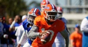 University of Florida quarterback Jalon Jones scrambles during a practice in spring camp- Florida Gators football- 1280x853